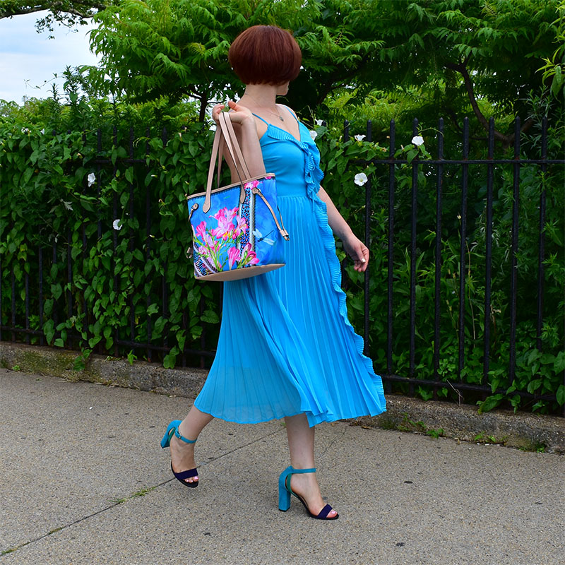 Blue Bag with Animal Prints and Flowers