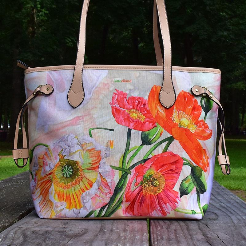 Orange Poppy Flowers Bag, Light Beige Bag
