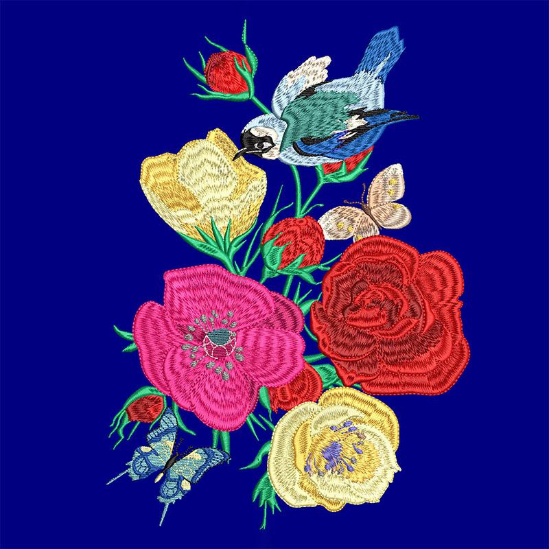 Bird in Flowers Embroidery Design Digital Download