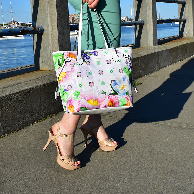 Peonies Bag, Blue Bells, Eucalyptus Branches, White summer tote, Flowers Lover