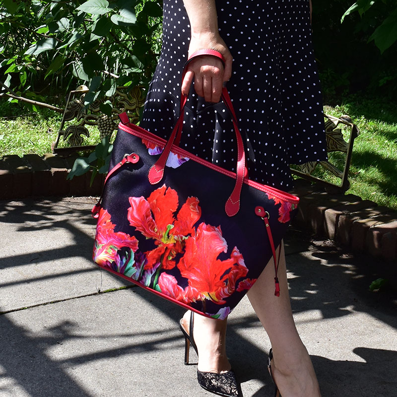 Red and Black Tulips Bag, Classical Combo, Dressy and Stylish Bag