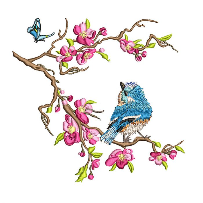 Japanese Tree Digital Embroidery, Flowers and Bird