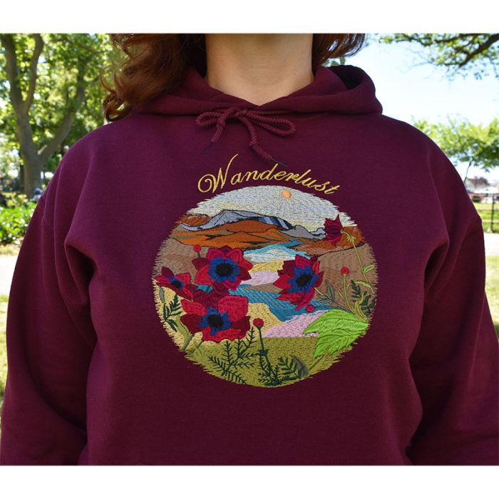 Wanderlust Embroidered Hoodie, mountains and flowers, wilderness, unique gift