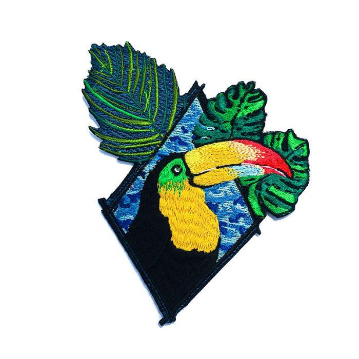 Toucan Tropical Patch, Tropical leaves, Jungle Bird, Clothes Decoration