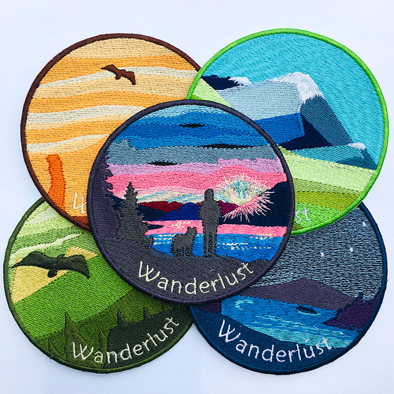 Wanderlust Patches, Snowy Peaks, Great Canyon, Sunset on the lake
