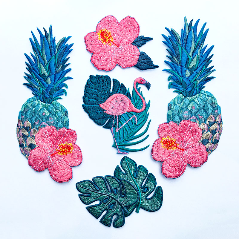 Pineapple, Hibiscus Flower, Flamingo, Tropical Leaves