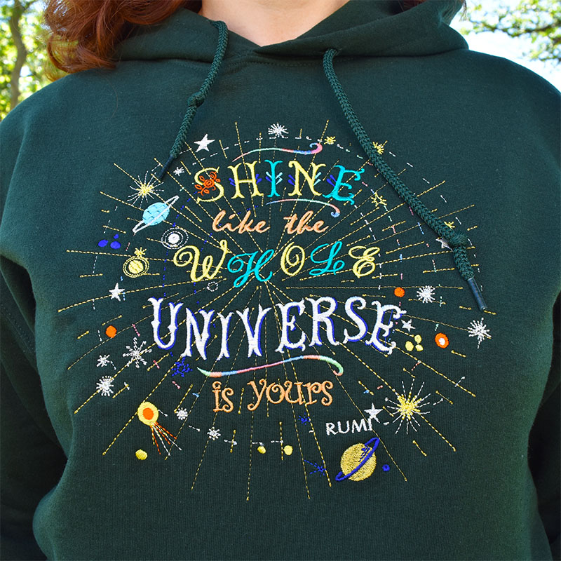 Celestial, Universe, Space Cosmos, Inspired Sparkling Hoodie, Unique Gift, Rumi Inspired